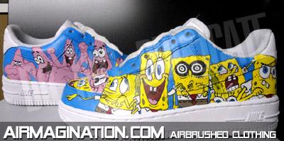 Airbrushed Spongebob Patrick Shoes Squarepants Air Force Ones